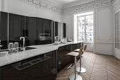 Spacious modern fitted kitchen with bat counter and stool in black and white decor on a herringbone  poster