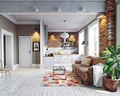 modern apartment  interior. Scandinavian style design. 3d rendering concept poster