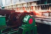 Casting, The Part Of Steel Production At Steel Mill. poster