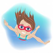 Happy Childhood Concept. Happy Active Little Girl Wearing Goggles Swimming Underwater In A Swimming  poster