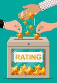 Rating Box And Hand With Golden Star. Reviews Five Stars. Testimonials, Rating, Feedback, Survey, Qu poster