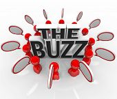 The words The Buzz surrounded by people talking with speech bubbles, symbolizing the spreading of ho