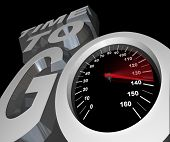 The words Time to Go with a speedometer with racing needle in the letter O symbolizing the deadline