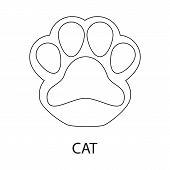 Isolated Object Of Paw And Cat Symbol. Set Of Paw And Skin Vector Icon For Stock. poster