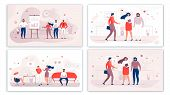 Cartoon Office People Characters Communication Set. Flat Men And Women Talking, Chatting, Gossiping, poster