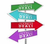 Amazing Deal Big Savings Sale Discount Save Money Arrow Signs Choices Sales 3d Illustration poster