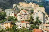Panoramic view of the citadel and the city of Corte in Corsica