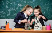 Microscope And Test Tubes On Table. Perform Chemical Reactions. Basic Knowledge Of Chemistry. Make S poster