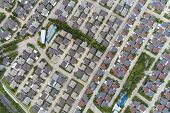 Aerial View From Drone Top View Of The Village In Summer Season And Roofs Of The Houses Birds-eye V poster