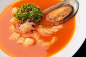 Seafood Soup With Tomatoes Closeup