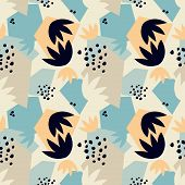 Contemporary Seamless Pattern Ith Abstract Geometric Shapes And Floral Leaves. Avant-garde Modern Co poster