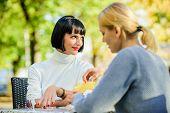Friendship Meeting. Trustful Communication. Friendship Or Rivalry. Girls Friends Drink Coffee Talk.  poster