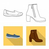Bitmap Illustration Of Footwear And Woman Icon. Collection Of Footwear And Foot Stock Bitmap Illustr poster