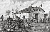 Village Hotel. Engraving by Flyugel  from picture by  Kravchenko. Published in magazine