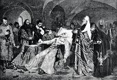 The death of the Russian Tsar Ivan the Terrible. Engraving by Baranowski  from picture by  Maiman. P