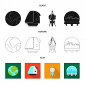 Bitmap Design Of Mars And Space Logo. Set Of Mars And Planet Bitmap Icon For Stock. poster