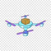 Quadcopter Icon. Cartoon Illustration Of Quadcopter Icon For Web Design poster