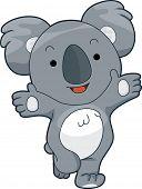 Abbildung von einem freundlichen Koala bietet eine Umarmung