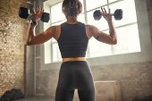 Great Workout. Back View Of Young Athletic Woman In Sportswear Exercising With Dumbbells While Stand poster