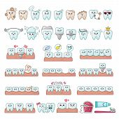 Set Of Kawaii Teeth, Dentistry Tools, Implants, With Different Emodji, Cute Cartoon Characters - Tre poster