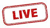 Live Stamp. Live Square Grunge Sign. Live poster