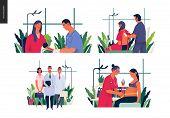 Set Of Medical Insurance Illustrations - Blood Pressure Test, Auscultation, Medical Guide, Routine P poster