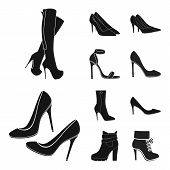 Bitmap Illustration Of Heel And High Icon. Set Of Heel And Stiletto Stock Symbol For Web. poster