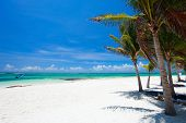 Beautiful white sand beach in Akumal Mexico