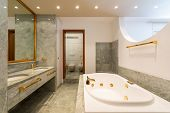 Luxury bathroom with large hydromassage, green marble and gold sinks. Nobody inside poster