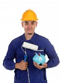Construction painter with yellow helmet and moneybox isolated on a white background  poster