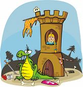dragon and princess in tower