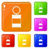 Trash Can With Pedal Icons Set Collection Vector 6 Color Isolated On White Background poster