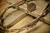 stock photo of golgotha  - a representation of the crown of thorns and the cross of Jesus Christ - JPG