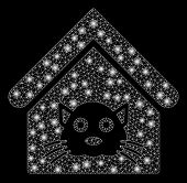 Flare Mesh Cat House With Glitter Effect. Abstract Illuminated Model Of Cat House Icon. Shiny Wire C poster