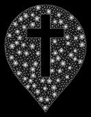 Glowing Mesh Christian Cross Marker With Glare Effect. Abstract Illuminated Model Of Christian Cross poster