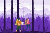 Tourists Cute Couple With Map And Backpacks Performing Outdoor Touristic Activity. Forest Trees Moun poster