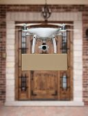 Unmanned Aircraft System (UAV) Quadcopter Drone Delivering Package To House. poster
