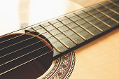 Guitar Acoustic. Play The Guitar. Six Strings Free Frets Sound Hole And Soundboard.guitar Strings Cl poster