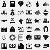 Deposit Account Icons Set. Simple Style Of 36 Deposit Account Icons For Web For Any Design poster