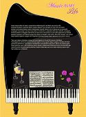 Musical Background - Concert Piano, with sheet music, keyboard, roses and champagne, as a backdrop f