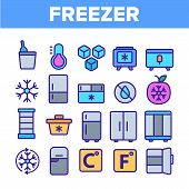 Freezer, Cooling Appliance Linear Icons Set. Frosting And Icing Thin Line Contour Symbols. Cold Stor poster
