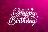 Happy Birthday White Hand Lettering Inscription On Red Background. Ready Text For Use In Print Desig poster