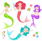 pic of mermaid  - set of cute mermaids and underwater elements - JPG