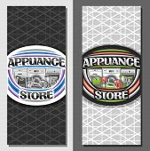 Vector Layouts For Appliance Store, Brochure With Illustration Of Variety New Metal Home Appliances, poster