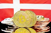 Concept For Investors In Cryptocurrency And Blockchain Technology In The Denmark. Bitcoins On The Ba poster