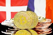 Concept For Investors In Cryptocurrency And Blockchain Technology In The Denmark And France. Bitcoin poster