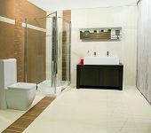 stock photo of lavabo  - Classics bathroom with glass shower and big basin - JPG