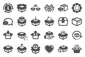 Box Icons. Package, Delivery Boxes, Cargo Box. Cargo Distribution, Export Boxes, Return Parcel Icons poster