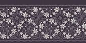 Hand Drawn Abstract Winter Snowflakes Border Pattern. Stylish Crystal Stars On White Background. Ele poster