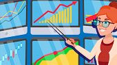 Broker Female . Successful Stock-market Broker. Dynamics Of Financial Growth. Graphs, Indexes. Confi poster